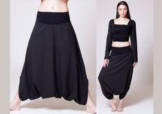 Black Cotton Diamond Pattern Harem Skirt Pants  by MichalRomem, $110.00
