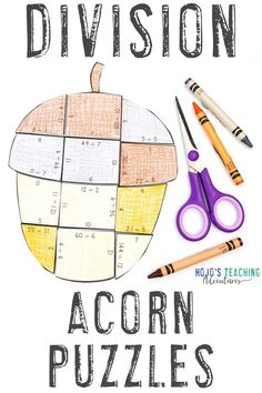 Your 3rd, 4th, or 5th grade students will love these DIVISION Acorn Puzzles. They're great for the fall months of September, October, and November. Use them with your classroom or homeschool kids. They're great for math centers, stations, actvities, crafts, craftivities,
