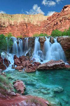 Navajo Falls is a photograph by Edwin Verin. Navajo Falls in Havasupai Indian Reservation near Grand canyon, Arizona, USA. Source fineartamerica.com