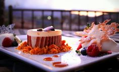 Delicious dessert with vineyard and mountain views in Temecula Valley Wine Country, The Restaurant at Leoness Cellars.