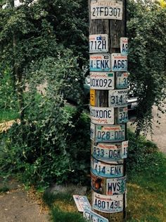 Pole decorated with auto license plates. However, in some localities, any kind of embellishment on these facilities are prohibited Car License Plates, Vsco Grid, Public Art, Telephone, Utility Pole, Journaling, Art Projects, Recycling, Electric