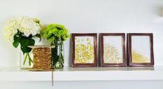 Para a decoração de seu ambiente ficar mais sofisticada e diferenciada você pode investir em quadro com papel metalizado, que é fácil de ser feito e não