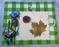 Lawn Fawn Stitched Leaves and Sizzix Framelits Die Squares, Scallop Set.  Cute bird stickers from the Dollar Tree