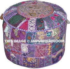 Buy large purple colorful pouf ottoman to add extra beauty to your living room. Tapestry Bedding, Wall Tapestry, Pouf Ottoman, Ikea Pouf, Decorative Accessories, Decorative Items, Bean Bag Bed, Leather Chaise Lounge Chair, Patchwork Cushion