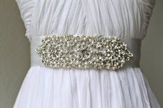 Bridal beaded glam swarovski crystal sash.  Pearl by IngenueB, $83.00