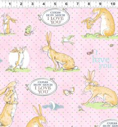 Fat Quarter Guess How Much I Love You Rabbit Toss Sky Cotton Quilting Fabric
