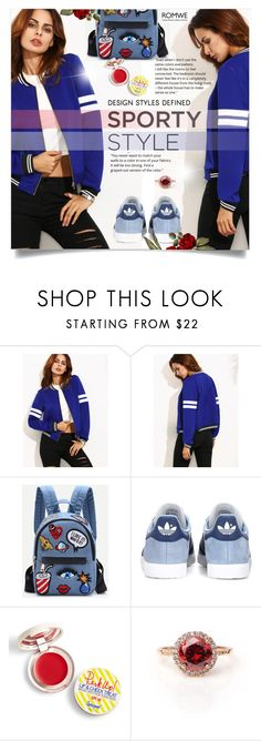 """""""KingBlue"""" by ellma94 ❤ liked on Polyvore featuring adidas Originals, Supergoop!, romwe and bluejacket"""