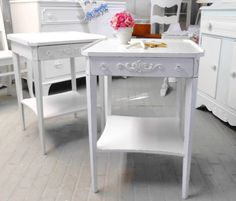 200 Two end tables pair of  tables night tables shabby chic furniture painted furniture
