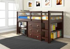 wooden and iron loft bed with storage - Google Search
