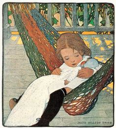 """Rocking Baby Doll to Sleep"", by American artist and illustrator - Jessie Wilcox Smith American Illustration, Children's Book Illustration, Jessie Willcox Smith, Children's Book Week, Counted Cross Stitch Patterns, American Artists, Illustrators, Baby Dolls, Art Gallery"