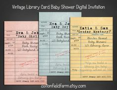 library card invites (templates for you to download) | baby ...