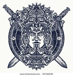 Illustration of Ancient aztec totem, Mexican god warrior and crossed swords. Indian mayan carved in stone tattoo art. Mayan tattoo and t-shirt design vector art, clipart and stock vectors. Mayan Tattoos, Symbol Tattoos, Polynesian Tattoos, Leg Tattoos, Sleeve Tattoos, Aztec Warrior Tattoo, Aztec Symbols, Mayan Symbols, Stone Tattoo