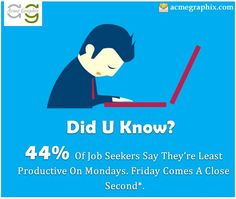 Did U Know? #JobSeekers , #Fact , #Monday , #Friday , #Productive http://www.acmegraphix.com/