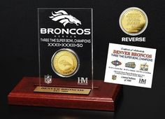 Denver Broncos 3-time Super Bowl Champions Gold Coin Etched Acrylic Z157-3320489369