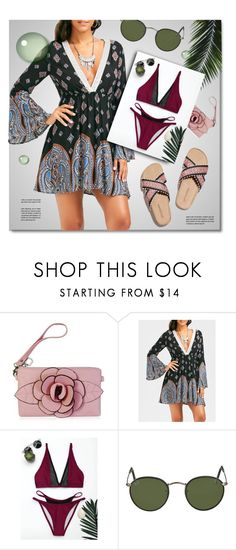 """""""Printed Dress"""" by monmondefou ❤ liked on Polyvore featuring Babette, Ray-Ban, Summer, dress and print"""