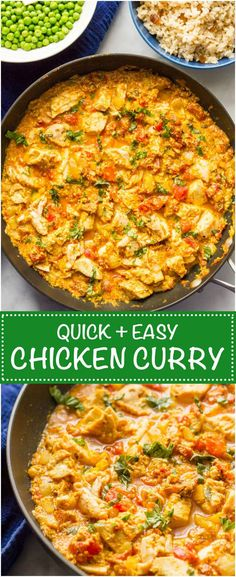 Quick chicken curry is an easy, one-pan recipe that's ready in just 15 minutes -- perfect for a busy weeknight dinner! | www.familyfoodont...