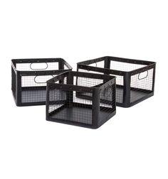 Caja cesta metal rejilla industrial negra asas