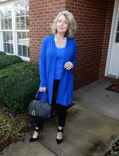 Fifty, not Frumpy: Royal Blue with an Opalescent Glass Necklace