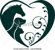 Vector - Logo Horse, Dog and Cat love heart - stock illustration, royalty free illustrations, stock clip art icon, stock clipart icons, logo, line art, EPS picture, pictures, graphic, graphics, drawing, drawings, vector image, artwork, EPS vector art