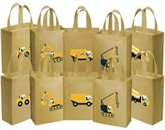 Ava & Kings 10 Pack Reusable Party Favor Kids Goodie Bags - Construction Work, Party Favors - Amazon Canada