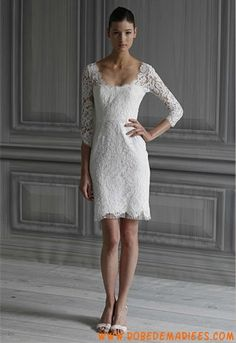 Robe de mariée courte avec manches dentelle collection 2012