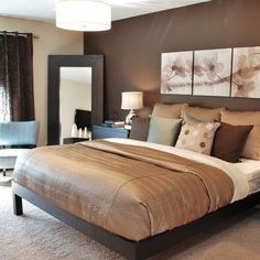 Romantic and modern bedroom. I like the accent wall. A lot like what I want to do with the house in Indy