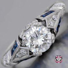 Art Deco Engagement Ring - GIA 0.98ct H/VS2 Diamond