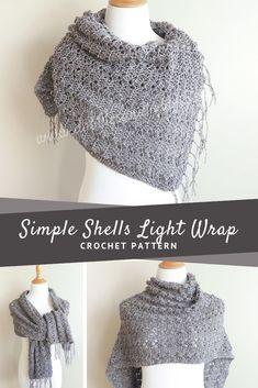 Simple Shells Light Wrap Crochet Pattern - Dabbles & Babbles - Free Crochet Patterns -You can find Shells and. Crochet Puff Flower, Cute Crochet, Crochet Flowers, Crochet Wrap Pattern, Crochet Flower Patterns, Scarf Patterns, Crochet Shawls And Wraps, Crochet Scarves, Crochet Blankets