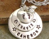 Mother's Necklace - Personalized  Sterling Silver  -  Hand Stamped  Family  Names Pendant - Three Layered Discs with Childrens' Names