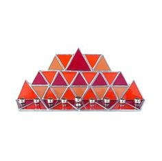 Stained Glass Hanukkah Menorah with Orange and Red Triangles