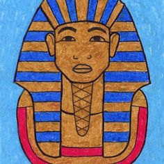 """Learn how to draw King Tut, the """"Boy King of Ancient Egypt"""". He's a study in drawing classically shaped features. Easy Art Projects, Drawing Projects, Projects For Kids, Ancient Egypt For Kids, Ancient Egyptian Art, Art Drawings For Kids, Easy Drawings, Art Lessons For Kids, Art For Kids"""