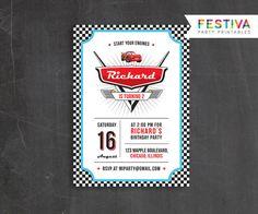 Invitación de Cars de Disney / Disney Cars / Retro por FestivaParty
