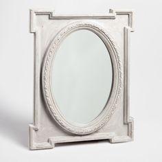 Καθρέφτης οβάλ με ορθογώνιο πλαίσιο