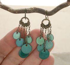 Handmade Colorful Dangle Earrings Boho Copper Enamel by tekaandzoe, $46.00