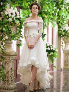 Vestido de noiva marfim Bateau-line pescoço flor praia assimétrico - Milanoo.com