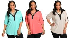 WOMENS SEXY FASHION 3/4 SLEEVE PLUS SIZE CASUAL TOP BLOUSE SHIRT 1X-3X