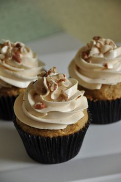 Pumpkin Pecan Cupcakes with Rum and Brown Sugar Swiss Meringue Buttercream
