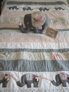 Baby Quilt - Effie the Elephant Nursery Bedding Collection, Handmade, Repurposed, pillowcase, Eco-friendly. via Etsy.