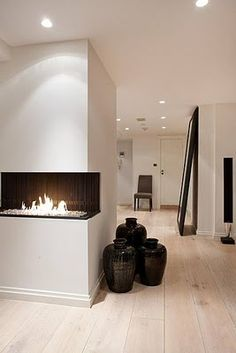 2 sided fire concept so you can see from living and kitchen, raised high enough that it is safe around children and pets