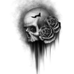Rodger Pister Skull and Rose 2 ($15) ❤ liked on Polyvore featuring backgrounds, art, drawings, fillers, pictures, effects, doodles, detail, quotes and text