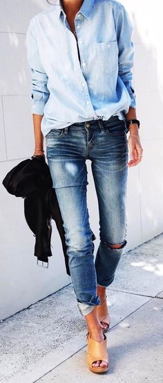 #winter #outfits distressed blue denim jeans