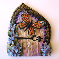 Monarch Butterfly Fairy Door, Miniature Pixie Portal, Home and Garden Decor, Butterfly Polymer Clay Door , Tooth Fairy Entrance by Claybykim on Etsy