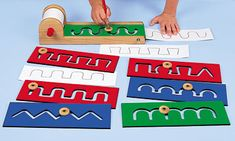 Pre-Writing Motor Skills Boards, they look cute, but isn't just coloring the same principle? I feel like my daughter would rebel against this kind of conditioning.