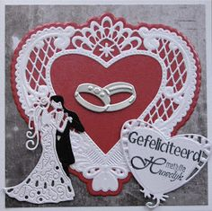 Karla-Krea: Trouwkaart Wedding Day Cards, Wedding Cards Handmade, Tattered Lace Cards, Easel Cards, Marianne Design, Heart Cards, Love Cards, Valentine Crafts, Baby Cards