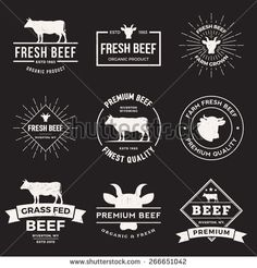 vector set of premium beef labels, badges and design elements  with grunge…