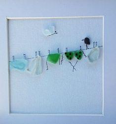 Kiesel Kunst Vögel Draht, Meer Glas Draht für Wäsche, Wandkunst, Housewarming, neues Zuhause, Meer-Glas-Kunst Eine schöne Meer Glas Bild, ein Draht für Wäsche und Vögel... Es gibt auch ein Schmetterling... Alles ist ruhig, außer dieses kleine Ding, das ein wenig :)) bewegt Schöne