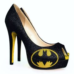 Women s Sparkly Batman SuperHero black yellow gold Glitter peep toe Heels  wedding bride shoes 3b5300c68