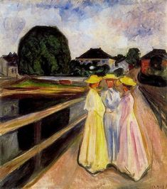 Three Girls on the Jetty, 1903 by Edvard Munch, European period. Expressionism. genre painting. Private Collection