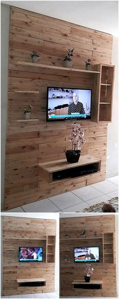 pallet wall tv stand art idea Pallet Wall Bedroom, Diy Pallet Wall, Pallet House, Diy Pallet Projects, Pallet Ideas, Pallet Walls, Recycled Pallets, Wood Pallets, Recycled Wood