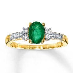 Kay - Natural Emerald Ring 1/10 ct tw Diamonds 10K Yellow Gold